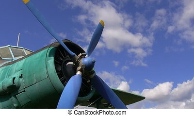 Old airplane propeller - Close up of an old retro air plane...