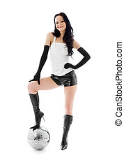 disco ball - picture of woman in leather shorts with disco...