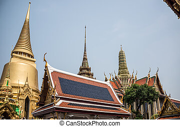Pagoda at Royal Palce, Bangkok City, Religion, Culture and Tradition, South East Asia, Thailand.