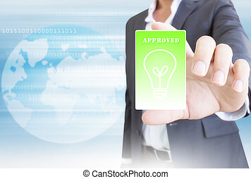 Businessman With Green Card,Business Concept and Ideas
