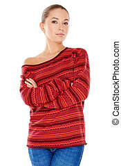Confident fashionable young woman wearing a trendy red...