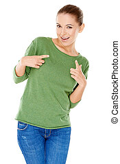 Groovy trendy young woman laughing and gyrating her body...