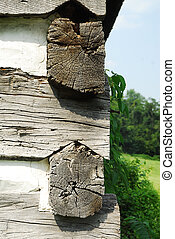 Log Building - Notched wood joinery on corner of a log...