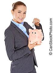 exitoso, feliz, mujer, ahorro, ella, dinero