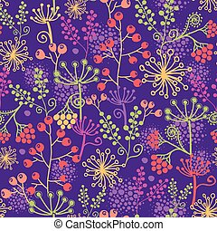 Colorful garden plants seamless pattern background - Vector...