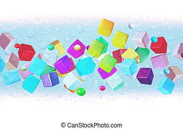 Colorful Cube 3D In Ice Frosted