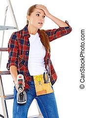Worried DIY handy woman
