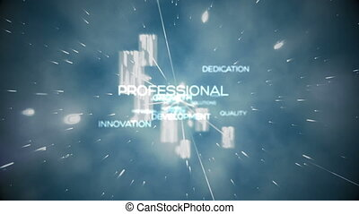 Futuristic animation showing business terms floating...