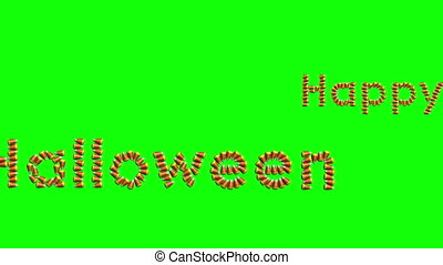 Happy Halloween Looping Text on Green Screen