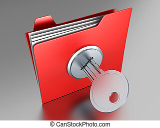 Folder - A locked Folder. 3D illustration.