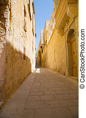 Street in Mdina - Historic Architecture in Mdina, Malta,...