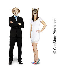 Cat and dog couple - Funny composite of a cat woman with a...