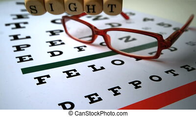 Dice spelling out sight falling onto eye test next to...