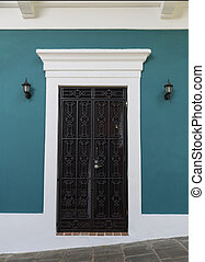 colonial door - charming old teal blue Spanish door with...
