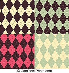 Argyle patterns - A set of four Argyle Seamless patterns