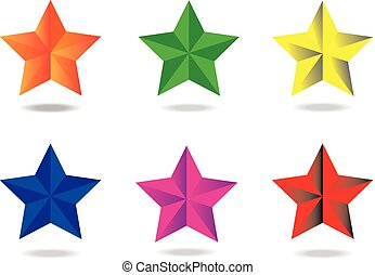 Beveled star - a set of six beveled stars with a shadow...