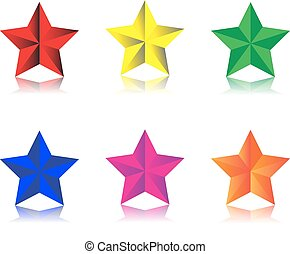 Beveled star - a set of six beveled stars with gradients