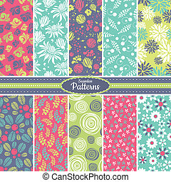 Collection of seamless pattern backgrounds - Collection of...