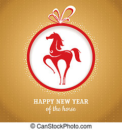 Year of the horse greeting card vector illustration