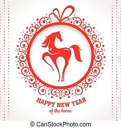 New year greeting card with horse vector illustration