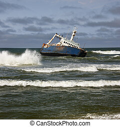 Shipwreck - Skeleton Coast - Namibia - Wreck of a ship on...