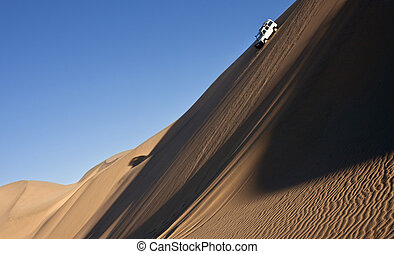 Namib Desert - Namibia - Driving in the sand dunes of the...