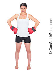 Competitive young model with boxing gloves posing on white...