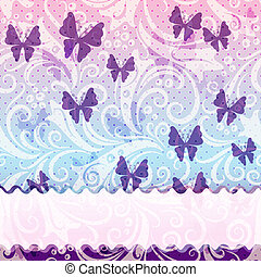 Gentle vintage frame with translucent violet butterflies and...
