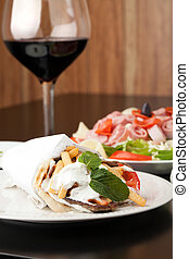 Gyro Pita Wrap - Traditional Gyro sandwich with meat...