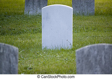 Blank White Gravestone - A blank white gravestone on a green...