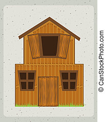 farm house with over gray background vector illustration