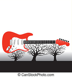 guitar vector background - Three trees support a guitar...