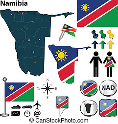 Map of Namibia - Vector of Namibia set with detailed country...