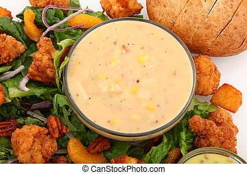 Shrimp and Lobster Chowder - Bowl of shrimp and lobster...