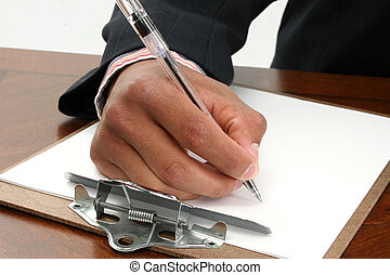 Male Hand Writing - African American male hand writting on...
