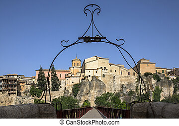 Cuenca - La Mancha - Spain - The cliff top buildings in the...