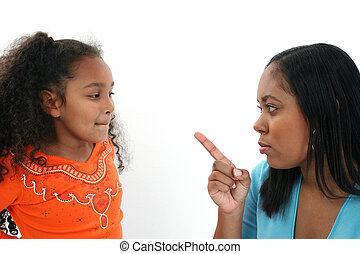 Angry Mom - Angry mom fussing at five year old daughter.