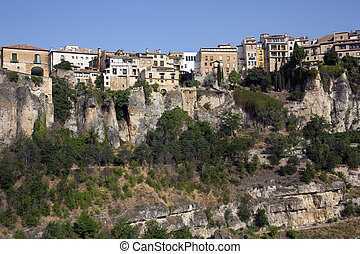 Cuenca - La Mancha - Spain - The cliff top houses in the old...