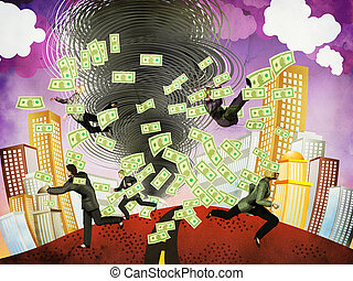 Financial tornado and business people - Illustration of...