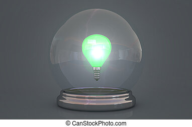 crystal ball showing lightbulb with green light