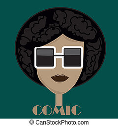 afro glasses - an afro boy with squared black glasses in a...