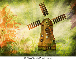 Grunge background with windmill