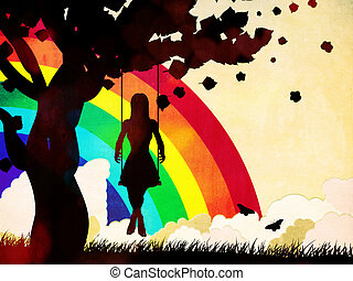 Grunge girl on swing and rainbow - Silhouette of a girl...