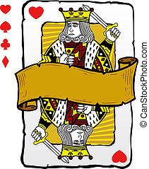 spielende, Karte, Stil, koenig, abbildung
