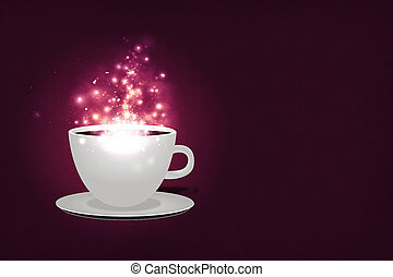 Magic coffee background - Illustration of cup of coffe with...