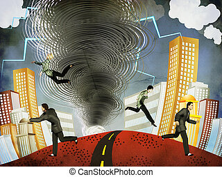 People pulled into tornado - Illustration of big tornado...