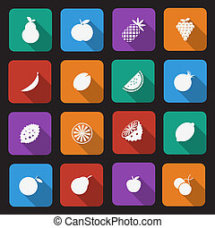 Fruit icons - set of sixteen fruit icons with a long shadow...
