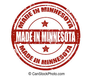 Made in Minnesota - Grunge rubber stamp with text Made in...