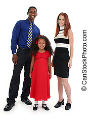 Interracial Family - Portrait of parents and child over...