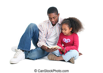 Father Daughter Reading - Attractive African American man...